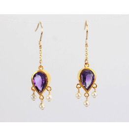 Ambica New York Amethyst Pearl Earrings