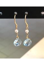 Ambica New York Blue Topaz Pearl Earrings