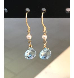 Ambica New York Blue Topaz Pearl Earrings