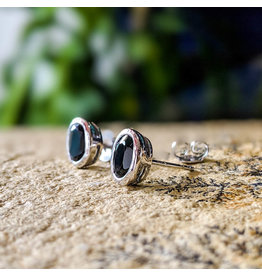 Black Spinel Stud Earrings 7x5mm