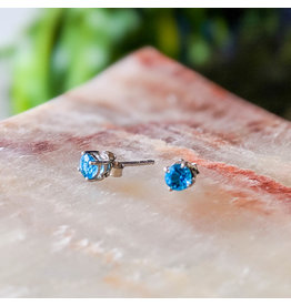 Blue Topaz Stud Earrings 4mm