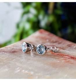 Blue Topaz Stud Earrings 6mm