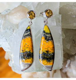 Bumble Bee Jasper Citrine Earrings