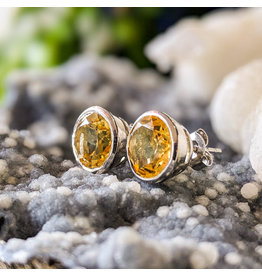 Citrine Stud Earrings 9mm