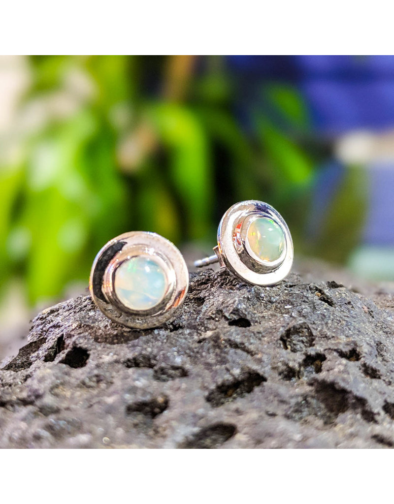 Sanchi and Filia P Designs Ethiopian Welo Opal Stud Earrings 10mm