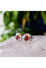 Garnet Stud Earrings 9mm