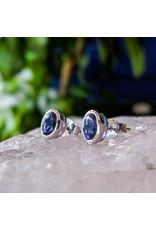 Iolite Stud Earrings 7x4mm