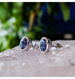 Iolite Stud Earrings 7x4mm