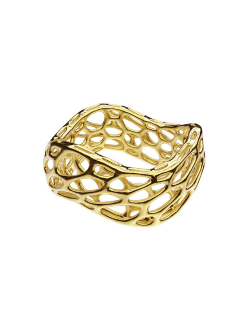 Nervous System Cell Cycle Brass Wave Ring 7