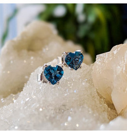 London Blue Topaz Heart Stud Earrings 6mm