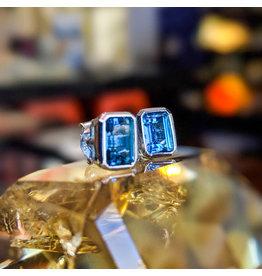 London Blue Topaz Stud Earrings 7x5mm