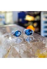 Sanchi and Filia P Designs London Blue Topaz Stud Earrings 8x6mm