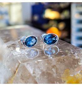 London Blue Topaz Stud Earrings 8x6mm