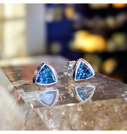 London Blue Topaz Triangle Stud Earrings 6mm