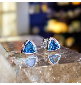 Sanchi and Filia P Designs London Blue Topaz Triangle Stud Earrings 6mm