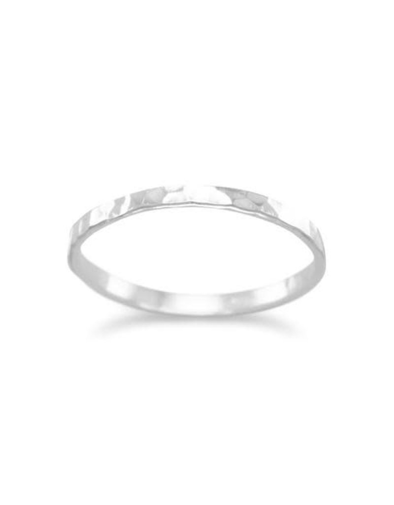 Thin Hammered Silver Stacking Ring