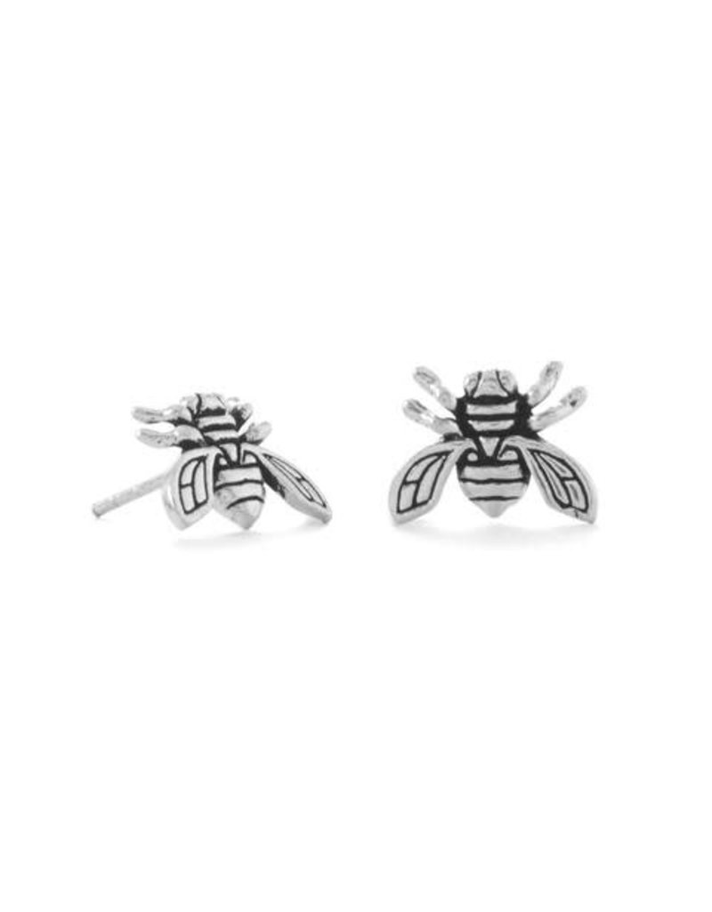 MMA International Oxidized Bee Stud Earrings