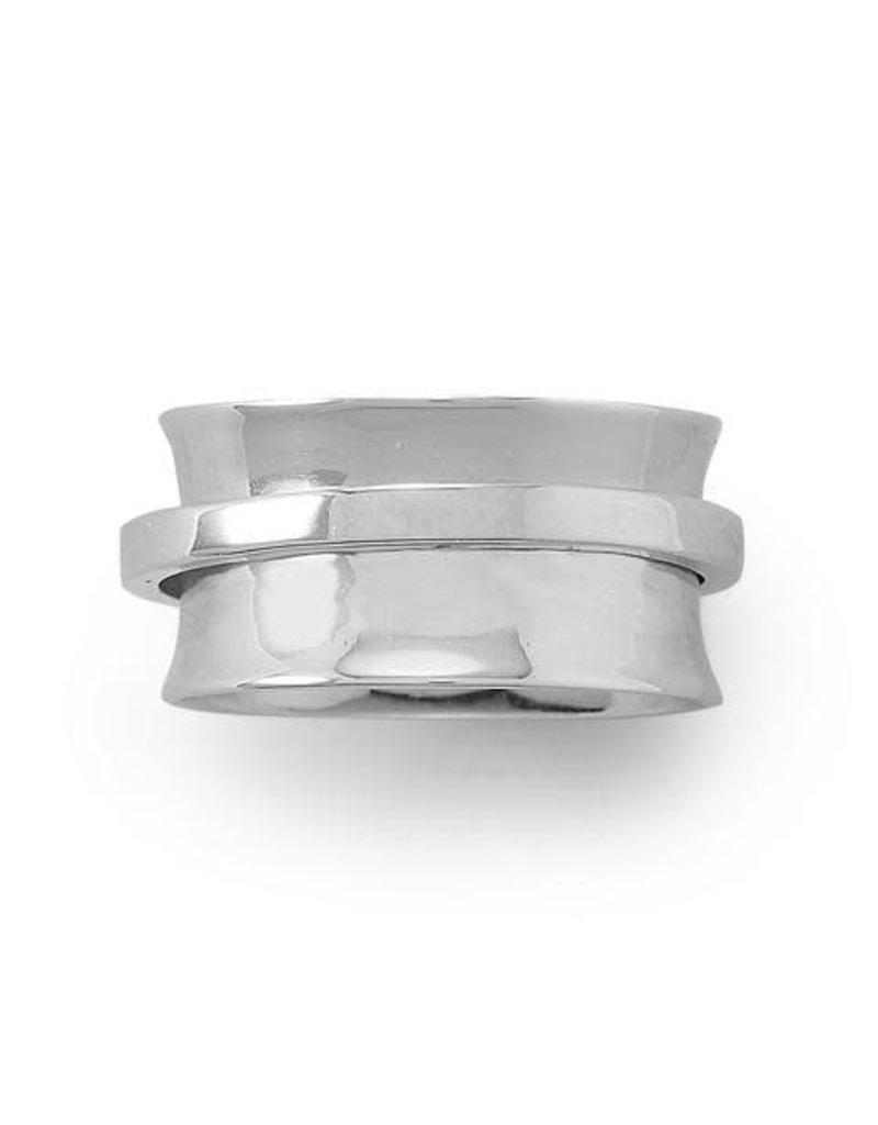 MMA International Rhodium-plated Spinner Ring