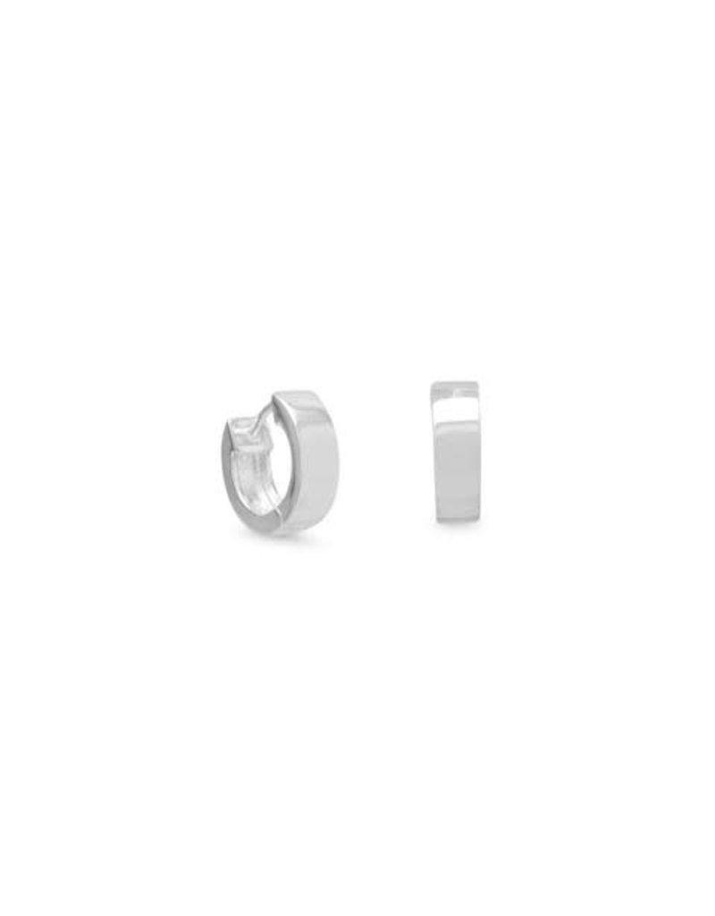 Silver Square Tube Hoop Earrings 4mm x 13mm