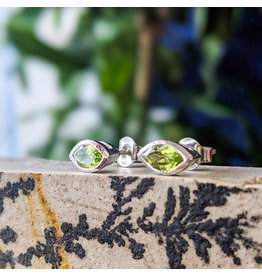Peridot Stud Earrings 9x4mm