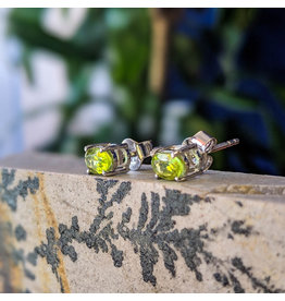 Peridot Stud Earrings 6x4mm
