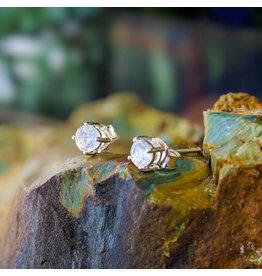 Sanchi and Filia P Designs Rainbow Moonstone Stud Earrings 4mm