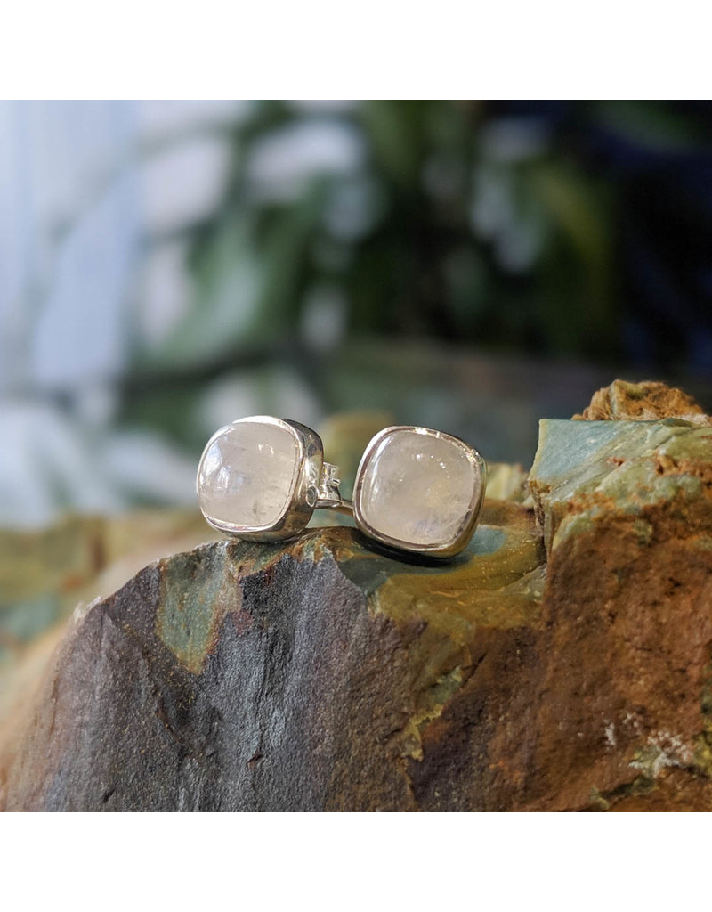 Rainbow Moonstone Stud Earrings 6mm