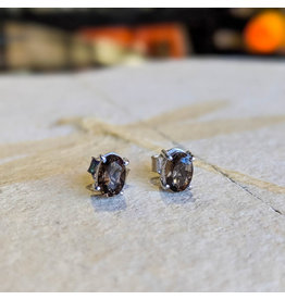 Smoky Quartz Stud Earrings 6x4mm