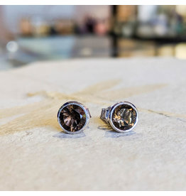 Sanchi and Filia P Designs Smoky Quartz Stud Earrings 6mm
