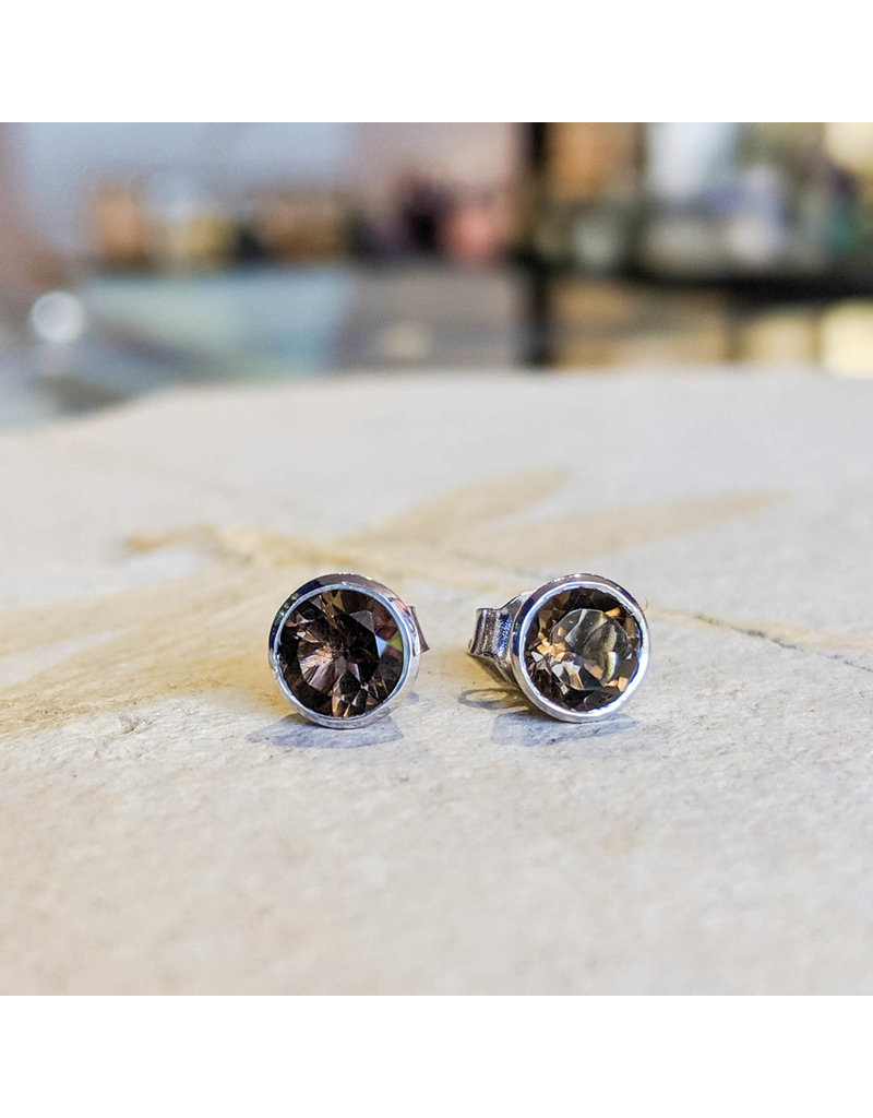 Sanchi and Filia P Designs Smoky Quartz Stud Earrings 6mm