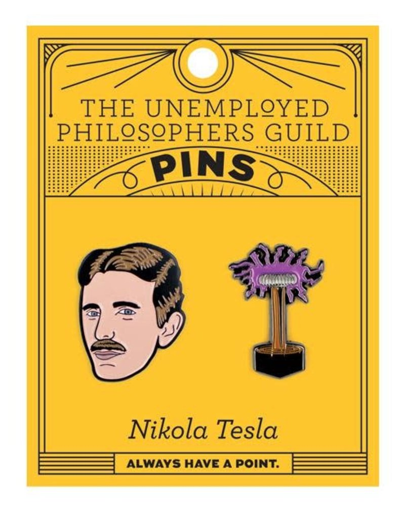 The Unemployed Philosophers Guild Nikola Tesla & Tesla Coil Pins