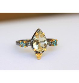 Ambica New York Lemon Quartz Blue Topaz Ring 7