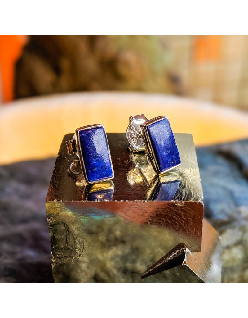 Chalisa Jewelry Lapis Lazuli Stud Earrings