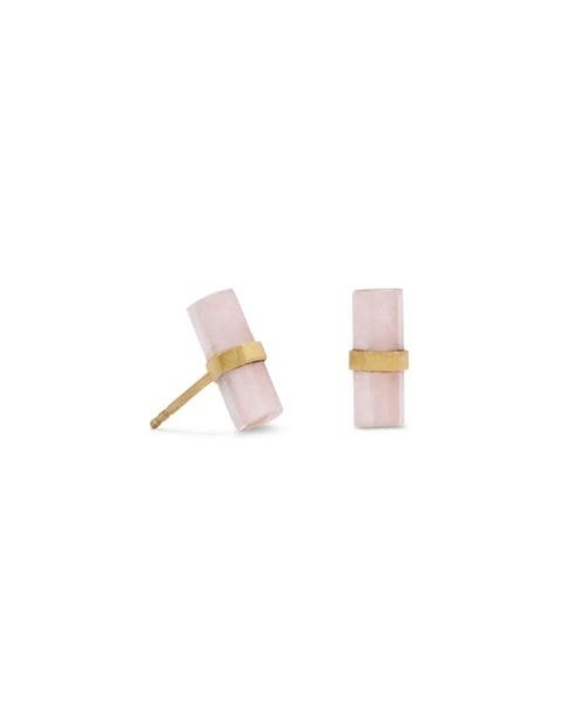 Rose Quartz 14K Gold-plated Stud Earrings