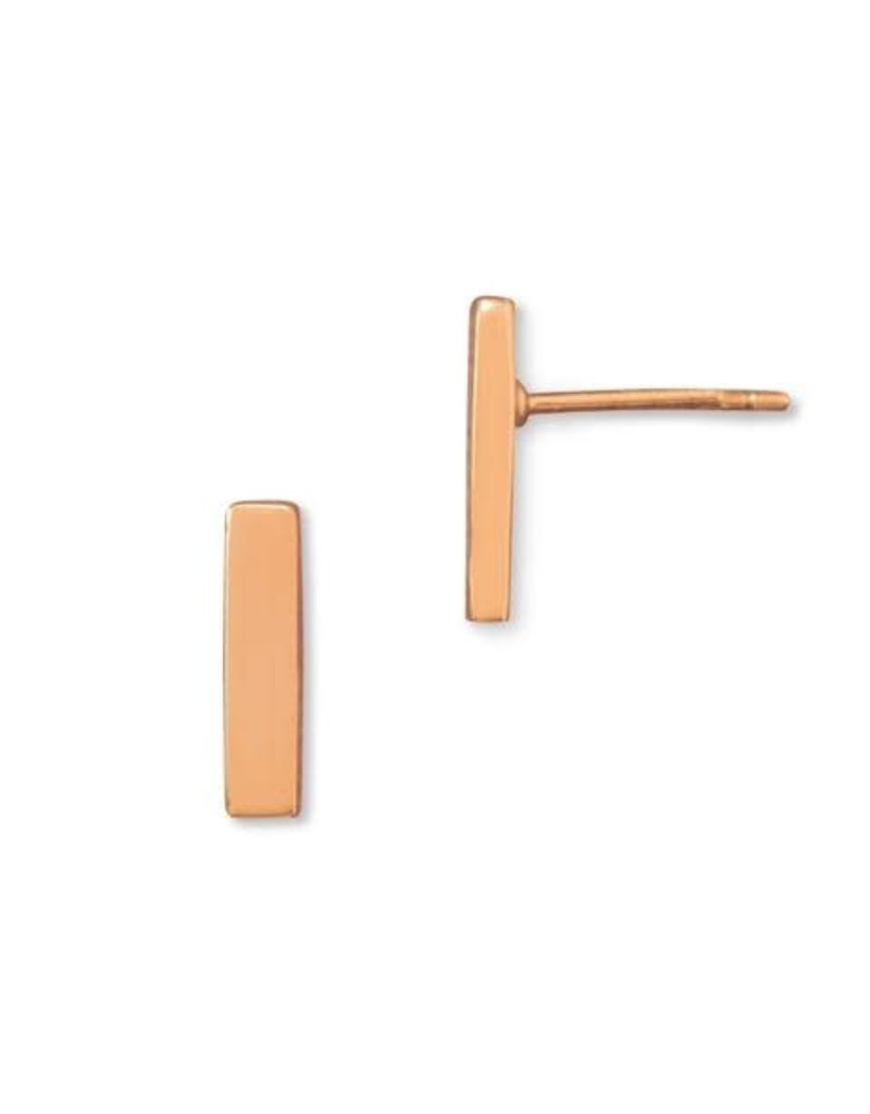 14K Rose Gold-plated Bar Stud Earrings