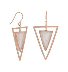 MMA International Rose Quartz 14K Rose Gold-plated Earrings
