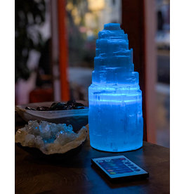 Igneous Theory Multi-Color LED WiFi-Enabled Selenite Tower Lamp 21cm