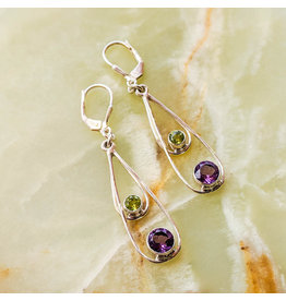 Sterling Creations Amethyst Peridot Earrings