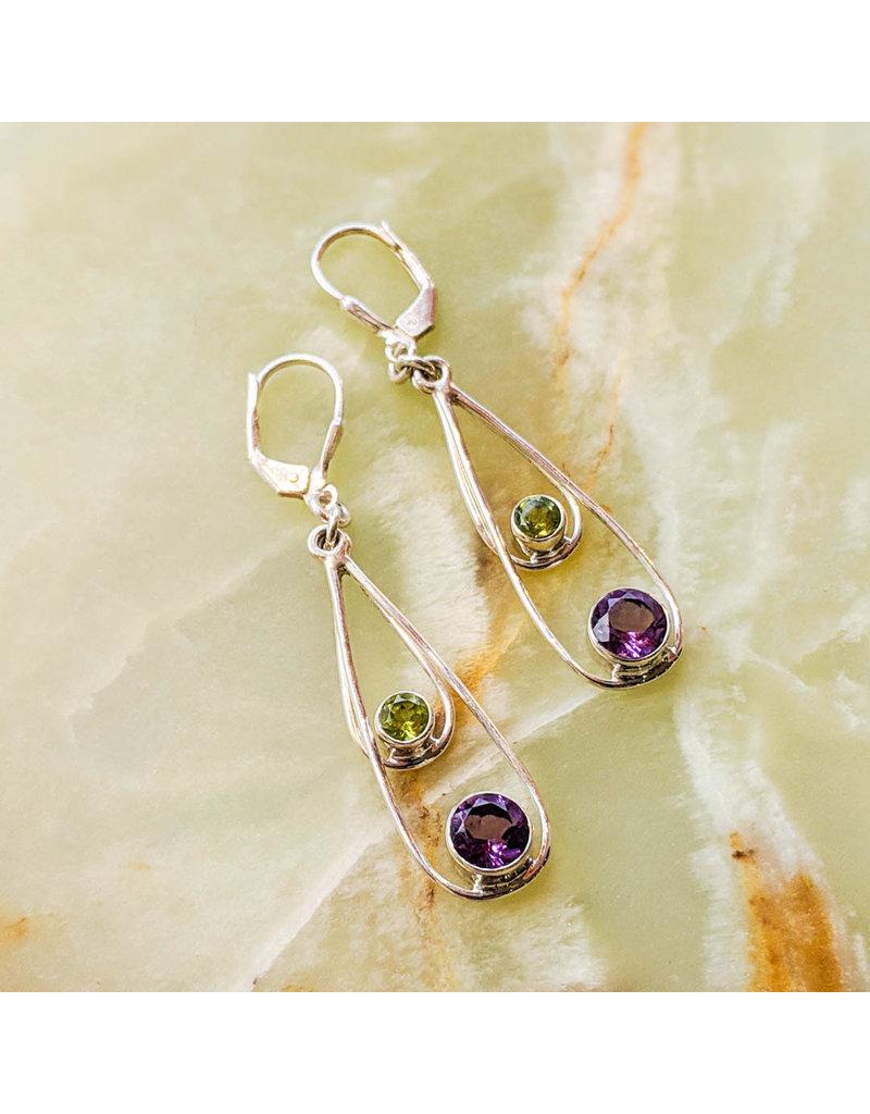 Sterling Creations Amethyst Peridot Earrings