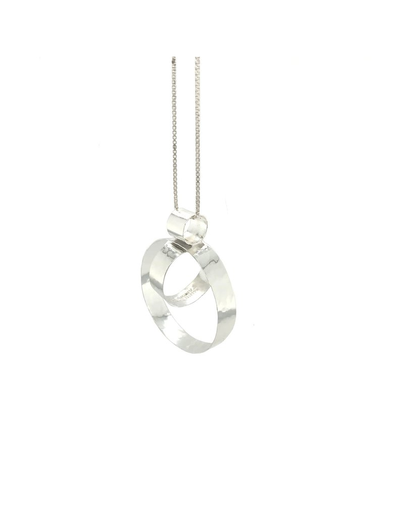 Balaam Design Hammered Double Circle Pendant with Chain