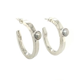 Balaam Design Fresh Water Pearl Three-Quarter Hoop Earrings