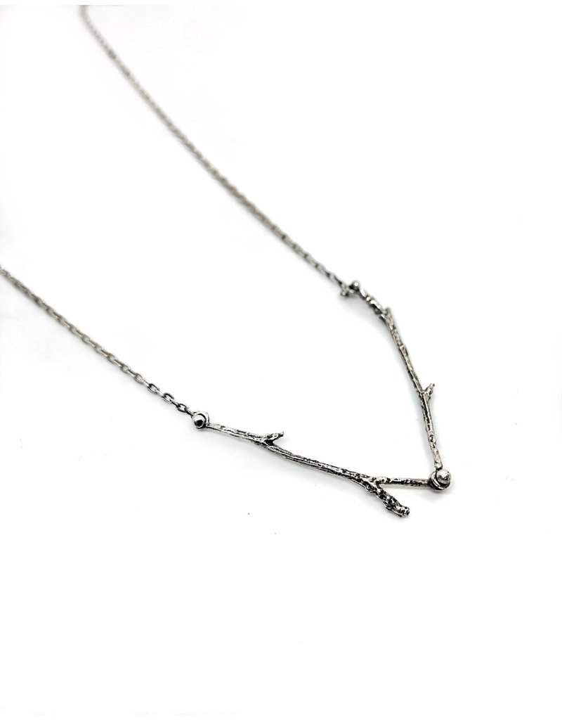 Hannah Alexandra Double Willow Necklace in Silver
