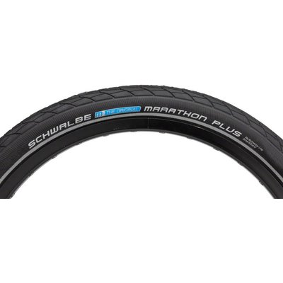 Schwalbe Schwalbe Marathon Plus Tire, 20x1.75 Wire Bead Black with Reflective Sidewall and SmartGuard Protection