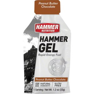 Hammer Nutrition Hammer Gel: Peanut Butter Chocolate, 24 Single Serving Packets
