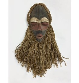 African Wood and Jute Mask