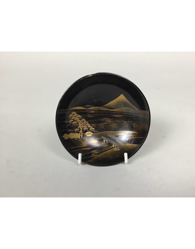 Black/Gold Painted Wood Bowl