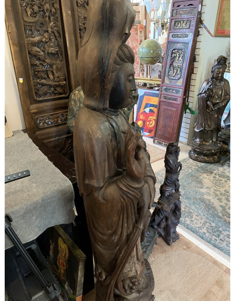 Standing Wooden Guan Yin