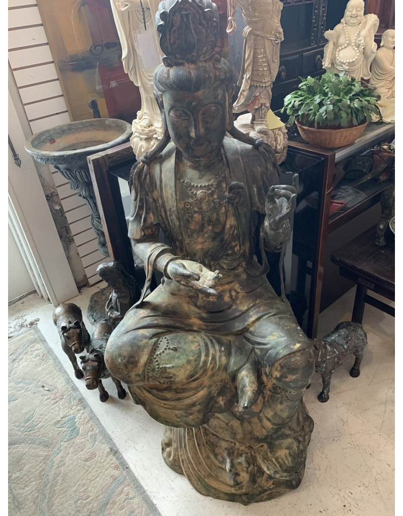 Life Size Bronze Seated Guan Yin