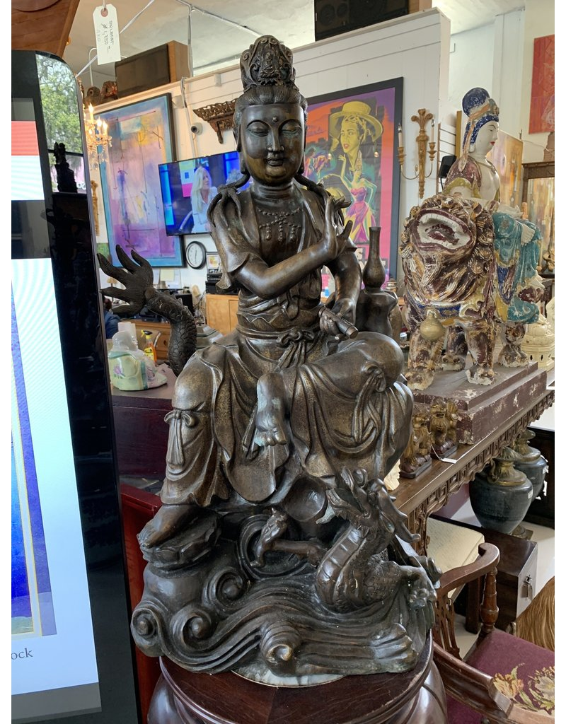 Bronze Seated Quan yin and Dragon
