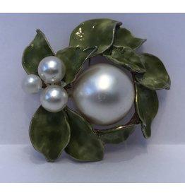 Green Enamel & Faux Pearl Brooch